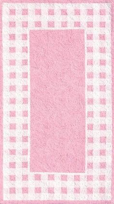 Pink and White Gingham Border Rug