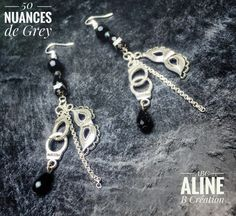 bijoux 50 nuances de Grey... 50 shades of Grey.. earrings.. boucle d'oreilles