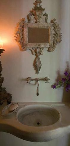 Stone Sink, Antique Mirror and Accessories via Chateau Domingue