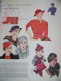 McCall 140, 152 and 151 Hats | November 1933