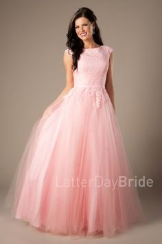 Modest Prom Styles for 2017   LatterDayBride & Prom   SLC   Utah   Worldwide Shipping   Lottie   This fun prom gown features a lace bodice, beaute neckline and a full tulle skirt.    Dress available in pink.