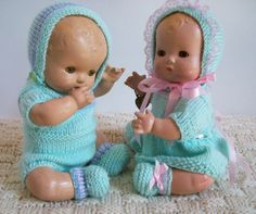 """This is a set for boy and girl Patsy Baby twins. They are 11"""" all composition baby dolls."""