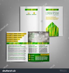 White business brochure design template with green and yellow arrow elements. Vector flyer layout, cover, poster design.