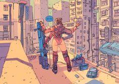 Boom by on DeviantArt, Udvalgt til Moebius / Jean Giraud Cyberpunk 2077, Arte Cyberpunk, Moebius Art, Character Art, Character Design, Ligne Claire, Tecno, Robot Concept Art, Retro Futuristic