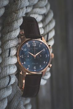 "themanliness: ""Tusenö introduces their first watch ""First 42″. Beautiful mecha-quartz watches inspired by the coast of Sweden. Here is the beautiful Black/Rose Gold watch with a brown leather strap. Make sure you order one from their..."