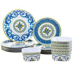 Certified International Blue Grotto Durable Melamine Dinnerware Set By Joyce Sheltonwares  sc 1 st  Pinterest & Kamille 16 Piece Stoneware Dinnerware Set White/Blue | Stoneware ...