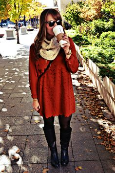 rust fall dress and boots...lovely