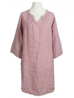 Damen Tunika Kleid aus Leinen, rosa von Puro Lino bei www.meinkleidchen.de