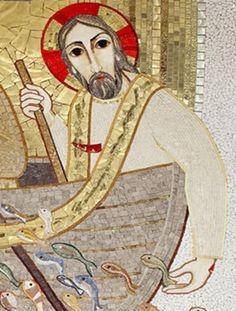 Jesus in the boat. Religious Icons, Religious Art, Roman Church, Mosaic Portrait, Life Of Christ, Lion Of Judah, Catholic Art, Orthodox Icons, Sacred Art