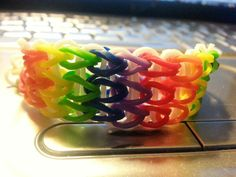Rubberband rainbow bracelet. DIY Loom This is made by Michael Peterson