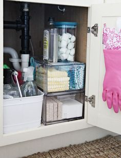 Small Kitchen Storage Ideas - Kitchen Organizing Tips and Tricks - Good Housekeeping Organisation Hacks, Bathroom Organization, Bathroom Storage, Organizing Tips, Storage Organization, Kitchen Organization Ideas Diy, Apartment Kitchen Organization, Pantry Ideas, Under Kitchen Sinks