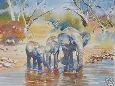 The Waterhole by Hazel Soan - Watercolor Artists, Watercolor Animals, Watercolor Landscape, Watercolor Paintings, Watercolours, Water Fairy, Elephant Art, Water Color Elephant, Elephant Pictures