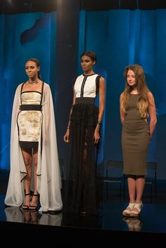 Maya listens to the judges' feedback about her looks from her final collection.