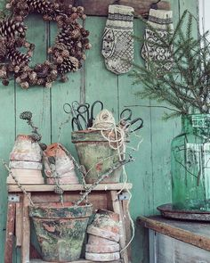 Does Sage Green Fit Perfectly into Farmhouse Decor - PintoPin Country Decor, Farmhouse Decor, Craft Booth Displays, Potting Tables, Vibeke Design, Potting Sheds, Shabby, Kintsugi, Vintage Tools