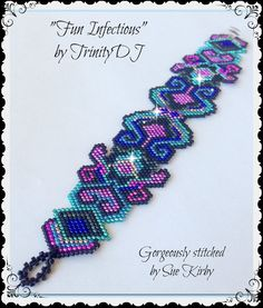 BP-PEY-013 - Fun Infectious - Peyote Stitch Bracelet Pattern - One of A Kind  - Fashion Statement - Cuff DIY Tutorial