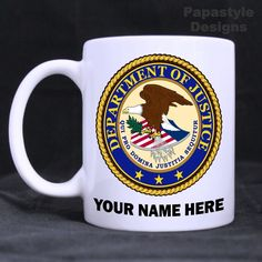 US Department of Justice Personalized 11oz Coffee Mugs Made in the USA. #Handmade