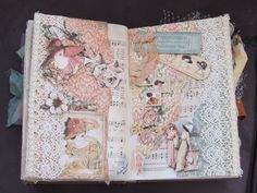 first spread in altered book using Ladies Diary theme