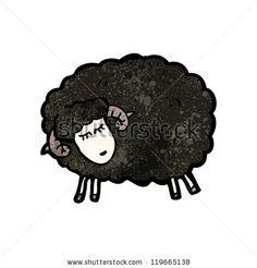 cartoon black sheep - stock vector