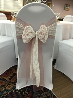 chair covers with Vintage pink organza sash doubled up with white lace sash - to hire Wedding Table Centerpieces, Wedding Chairs, Diy Wedding Decorations, Hall Decorations, Chair Bows, Chair Sashes, Blue Color Schemes, Wedding Color Schemes, Plan My Wedding
