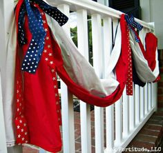 We keep our patriotic decorations out all summer long. These went up for Memorial Day, but are also perfect for the of July, or any other patriotic holiday… Patriotic Bunting, Patriotic Wreath, Patriotic Crafts, Patriotic Party, July Crafts, Summer Crafts, Summer Fun, Holiday Crafts, Holiday Ideas