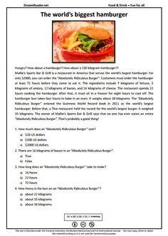 Free esl worksheet about five bizarre foods httpdreamreader free esl worksheet all about the worlds biggest burger httpdreamreader forumfinder Choice Image