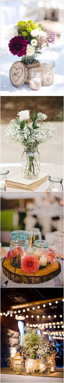 Rustic mason jar wedding centerpieces #wedding #weddingideas #centerpieces / http://www.deerpearlflowers.com/wedding-centerpiece-ideas/