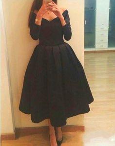 Cheap Short A line Cheap Evening Dresses V Neck Long Sleeve Graduation Dresses Black Party Dresses Tea Length Arabic Dubai Prom Dresses
