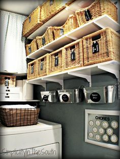 Simplicity In The South: Laundry Room Reveal. Baskets and galvanized bins with chalkboard labels.
