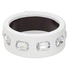 Slick White PU Vinyl and Rhinestones Chunky Mod Retro Wide Bangle Bracelet | eBay