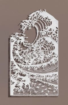 Sawing Waves by Bovey Lee. Chinese xuan (rice) paper on silk, hand cut