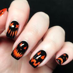 """Today I'll be showing you how to recreate my Sunmi """"Noir"""" inspired design. Start off by painting all of your nails with a sheer polish. View in gallery nail art halloween pumpkin idea nails varnish black orange # Holloween Nails, Cute Halloween Nails, Halloween Acrylic Nails, Halloween Nail Designs, Scary Halloween, Halloween Ideas, Costume Halloween, Scary Scary, Halloween Pumpkin Makeup"""