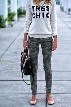 Outfit ideas. Tres chic grey sweater. Camo skinny pants. Flats. Little Blonde Book: Camo Chic…