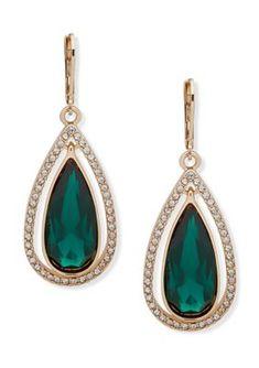 Wedding Earrings Drop, Bride Earrings, Gold Drop Earrings, Teardrop Earrings, Crystal Earrings, Small Earrings, Clip On Earrings, Emerald Green Earrings, Anne Klein