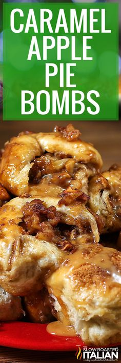 Caramel Apple Pie Bombs are your favorite pie filling, in the form of pull-apart bread! Make this baked dessert recipe to celebrate fall! Fruit Recipes, Apple Recipes, Fall Recipes, Sweet Recipes, Dessert Recipes, Holiday Recipes, Breakfast Recipes, Easy Baking Recipes, Dessert Bread