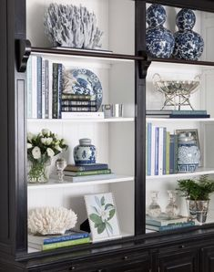 Library Bookcase Styling Shelfie Styling Blue and White Blue White and Green Interior Decorating Interior Styling Interior Design Hamptons Hamptons Style Decorating Bookshelves, Decorate Bookcase, Bookcase Styling, Decoration Bedroom, White Decor, Coastal Decor, Home And Living, Painted Furniture, Living Room Decor