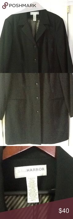 """Women's Size 20W Black Coat Very nice plus size 20w women's black tailored look jacket. Long blazer style. 46"""" bust, 46"""" waist, 48"""" hips, 38"""" long. In very good condition. Fully lined. Polyester, rayon and spandex. Sag Harbor Jackets & Coats"""