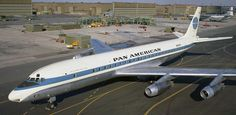 """Pan Am's first DC-8. N800PA """"Jet Clipper Flying Cloud"""". CN 45253, Line Number 5. Sold to Panair do Brazil then Varig. Crashed in Liberia in 1967 – Geoffrey Thomas"""