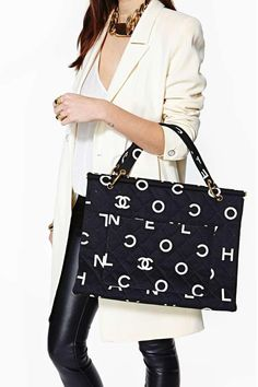 Vintage Chanel Quilted Letter Tote