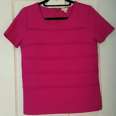 S J. Crew top Boxy, zip back pink top. The piping detailing make this one dressed up t-shirt, perfect with cropped pants. J. Crew Tops Tees - Short Sleeve