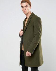 Abrigo de mezcla de lana en caqui de ASOS