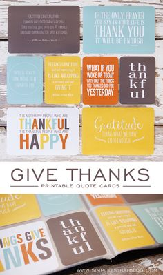 """Gratitude turns what we have into enough."" A collection of inspiring printable quote cards."
