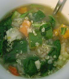 Quinoa Spinach Soup - Ready in less than 30 minutes!