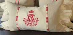 Another fun pillow design that coordinates with the Peppermint Grain Sack Pillows. Perfect amount of raspberry red and pink paired with off white an wheat linen. Email or call. mrslemon@sbcglobal.net 714.350.3187