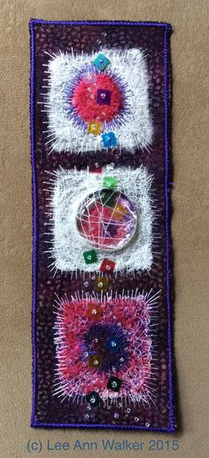 """Lee Ann Walker, 23-2"""", Tutti-Fruiti, 6/23/2015, nunofelt (merino and cheesecloth) stitched to machine felted batik over commercial felt base, glass gem, thread, beads and sequins."""