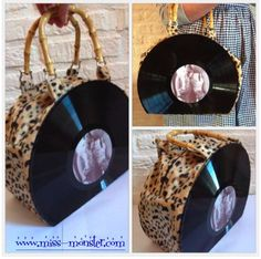 """""""Like a Virgin""""  Handmade record purse with fury leopardprint fabric and bamboo handles  Available at www.miss-monster.com"""