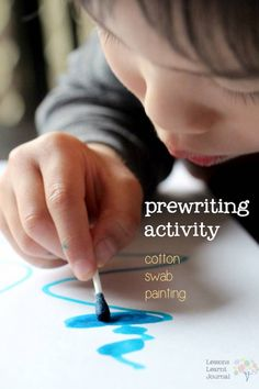 Painting with a cotton swab and food dye. Simple and fun way to build up prewriting skills. Via Lessons Learnt Journal. Might be a good way to use the food dye we no longer use in food Preschool Writing, Preschool Learning, Early Learning, Fun Learning, Montessori, Motor Activities, Preschool Activities, Time Activities, Prewriting Skills
