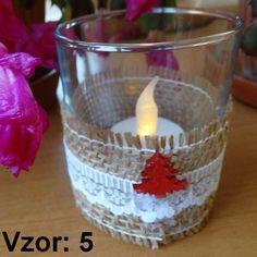Sklenený svietnik Jarko - Sviečka - S čajovou sviečkou LED (plus 1€), Vzor - Vzor 5