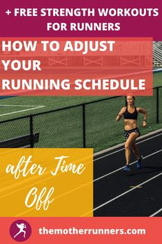 Adjusting a running schedule after time off is confusing! Learn how to safely adjust your schedule to optimize fitness & decrease change of injury. Plus get tips on how to adjust your running schedule depending on how much time you took off. AND get a FULL FREE MONTH of STRENGTH WORKOUTS for RUNNERS. #running #runner #motherrunner #runningtips #5k #10k #halfmarathon #marathon Running Schedule, Running Tips, Running Injuries, 5 K, Strength Workout, How To Run Faster, Marathon, Learning, Runners