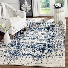Shop for Safavieh Madison Vintage Medallion Cream/ Navy Distressed Rug (10' x 14'). Get free shipping at Overstock.com - Your Online Home Decor Outlet Store! Get 5% in rewards with Club O! - 20006702