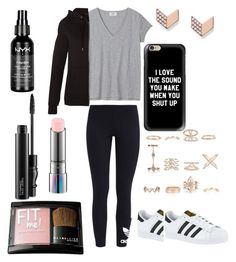 """""""Another school outfit."""" by jelena-hadzimusovic on Polyvore featuring moda, adidas Originals, New Look, Casetify, adidas, FOSSIL, MAC Cosmetics, Maybelline i NYX"""